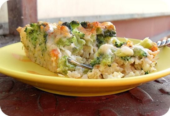 Broccoli quiche with brown rice crust! Great way to use leftover rice.