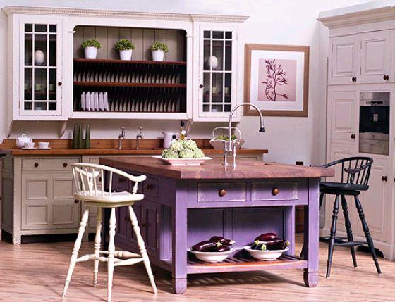 Purple kitchen island!  Things that I like  Pinterest