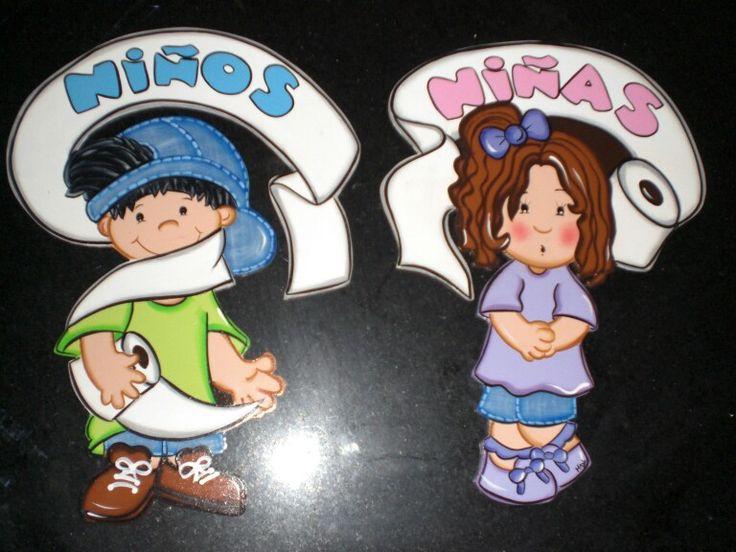 Baño Infantil Corona:Letrero De Bano Para Ninos