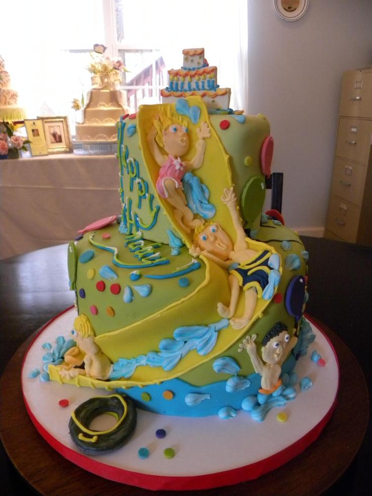 Pool Swimming Party Cake Water Slide Children 39 S Cakes Pinterest