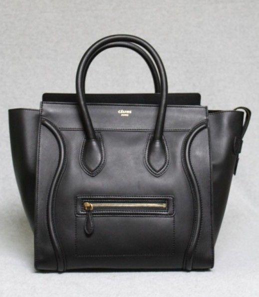 celine black mini luggage tote