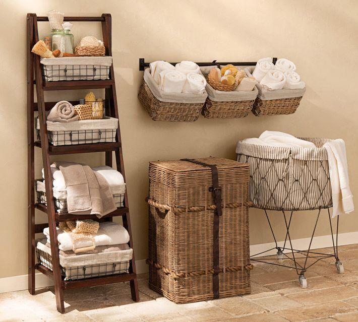 Botiquin Para Baño Reciclado:Pottery Barn Ladder with Baskets Bathroom