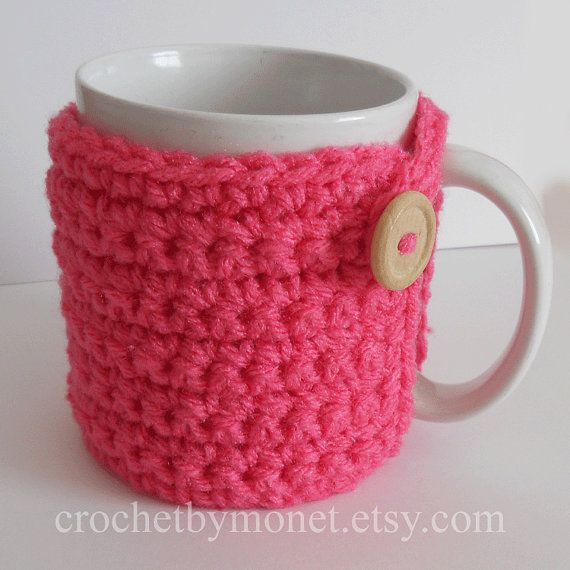 Crochet Coffee Cup Cozy Hot Pink on Etsy