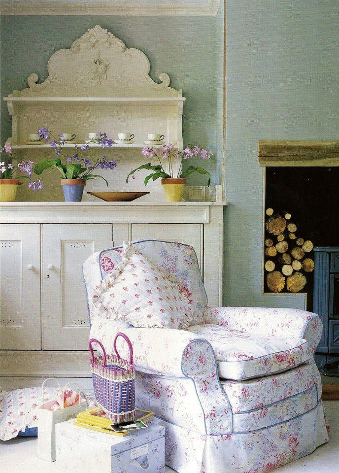 Shabby chic living room  Love the chair and hutch?