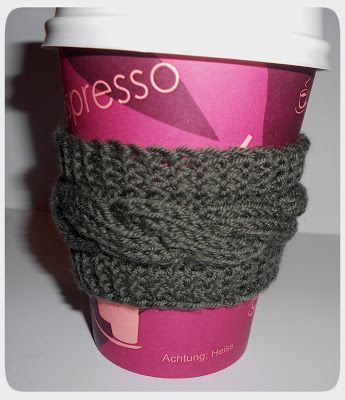 Cable Knitted Coffee Cozy - free pattern