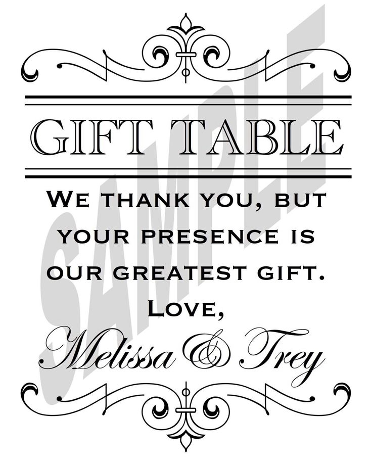 Wedding Gift Table Sign Wording : Discover ideas for all your projects and interests
