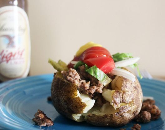 Burger-stuffed baked potatoes! | FunnyLoveFood | Pinterest
