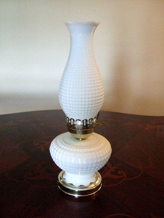 vintage electric hurricane milk glass lamp