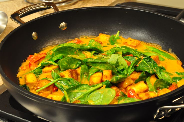 Spicy Peanut Tofu and Spinach Stir Fry | Pinterest in Action - tried ...
