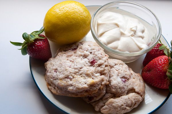 Perfect tea party food: strawberry lemon scones with homemade clotted ...