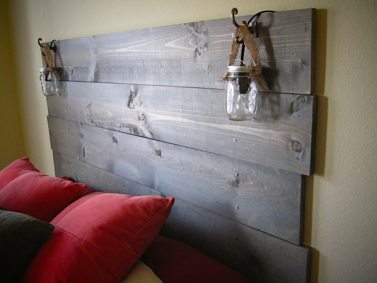 stained wood headboard with built in mason jar lights. Black Bedroom Furniture Sets. Home Design Ideas