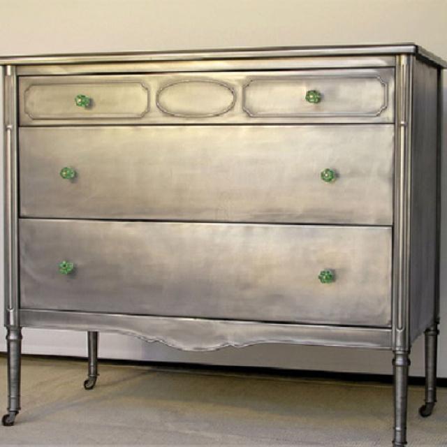 metallic dresser diy makeovers store design. Black Bedroom Furniture Sets. Home Design Ideas