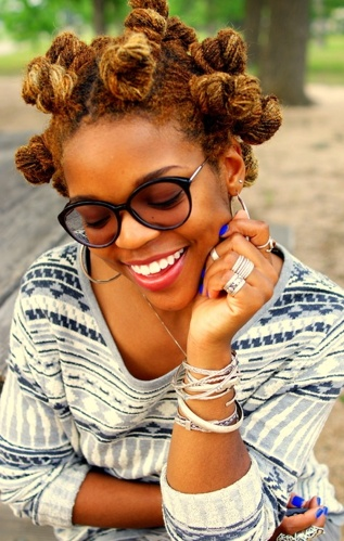 Bantu knots that rock!b and good color to boot!