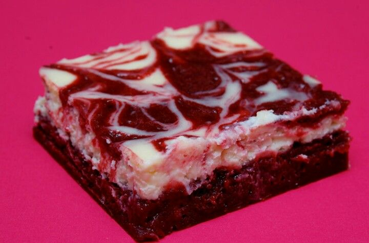 Red velvet brownies with a cheesecake swirl