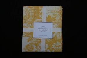 Pottery barn matine toile marigold yellow fabric shower curtain nwt