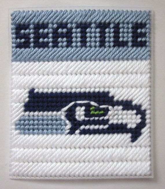 Seattle Seahawks tissue box cover in plastic by AuntCCcreations, $2.00