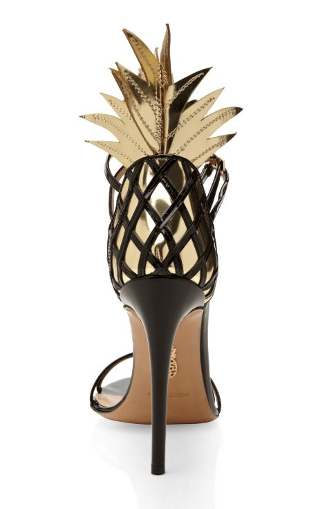 pinterest.com/fra411 #shoes - Gold And Black Pina Colada Sandal by Aquazzura