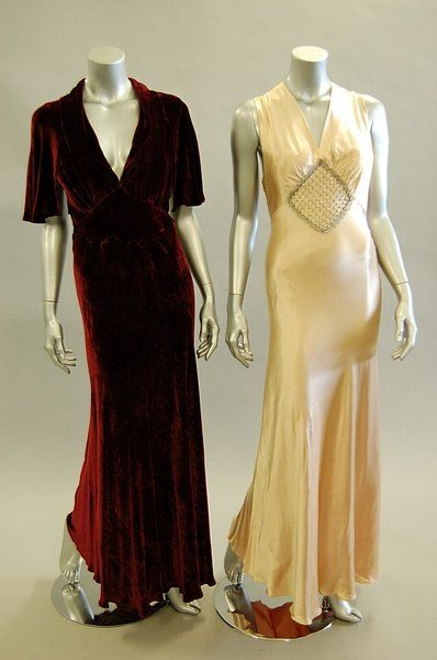 1029: Three 1930s evening gowns, one of claret velvet w : Lot 1029