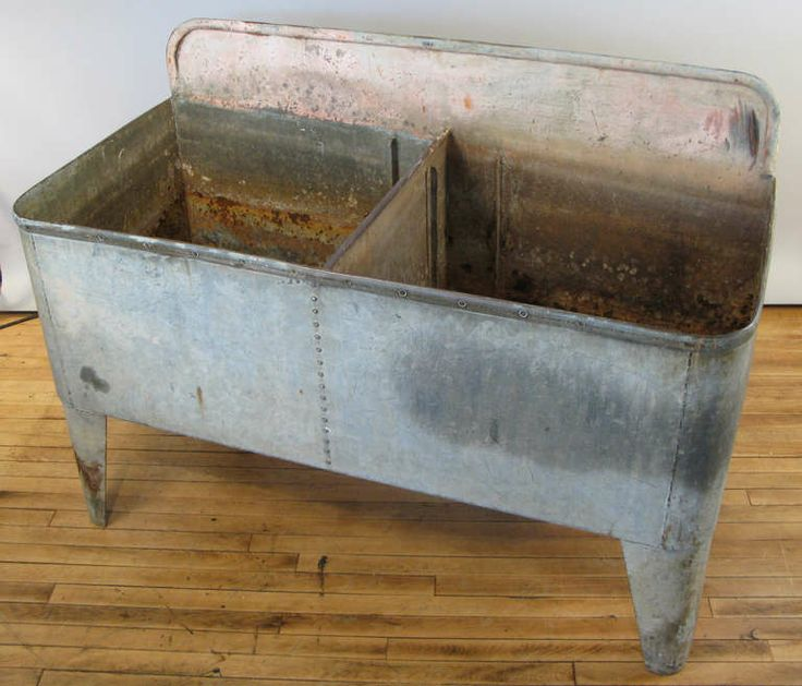 Vintage Galvanized Double Basin Wash Tub Or Laundry Sink With Stand ...