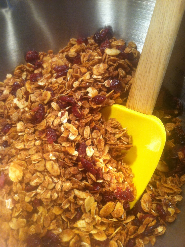Cranberry almond granola. Made today and used in a fresh fruit and ...