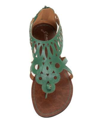 GoMax Berdine 41 Teal Cutout Cage Thong Sandals  #lovelulus