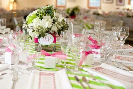 розовый и зеленый полосатый свадьбы