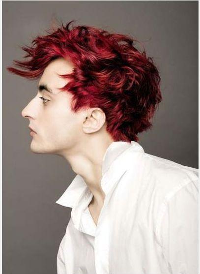 Black hair red highlights men