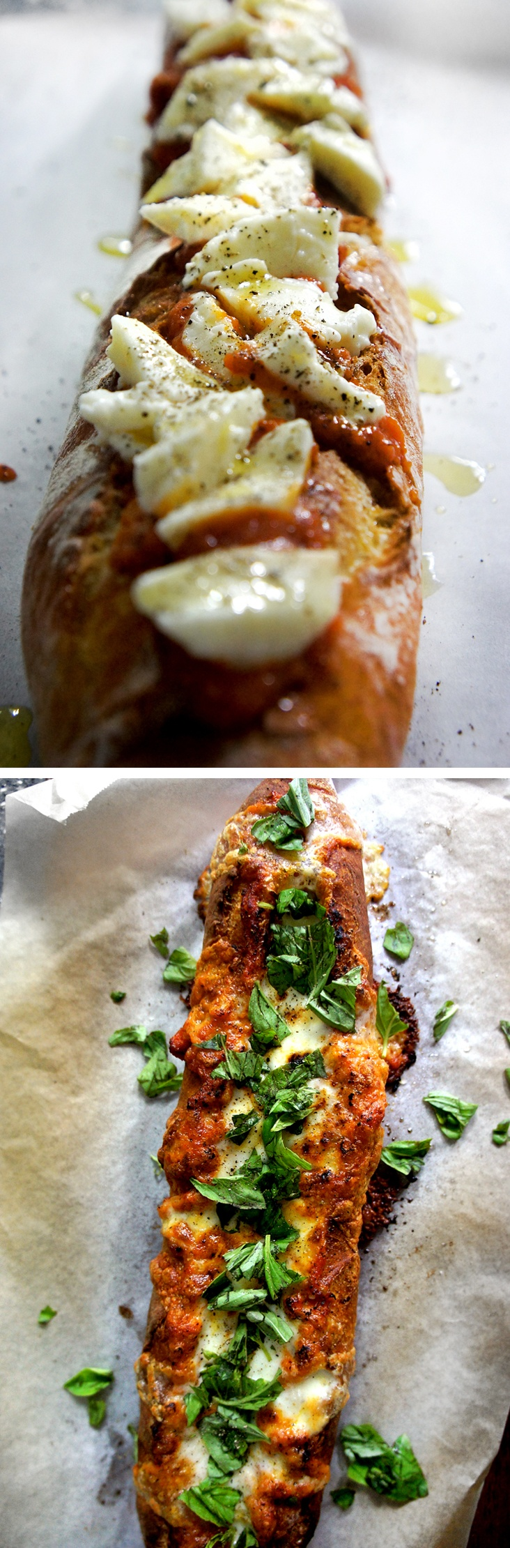 Toasted and crispy baguette loaded with cheesy melty gooey and yummy ...