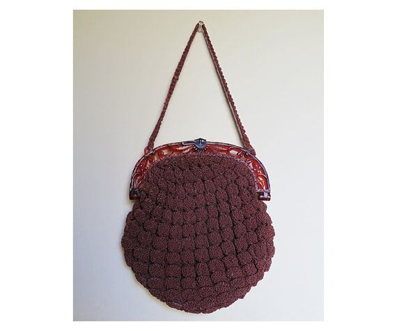 Sweet 1930s Brown Rayon Crochet Cord Purse with Fancy Plastic Frame by ...