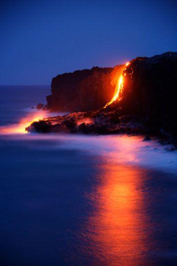 The volcanoes of Hawaii.