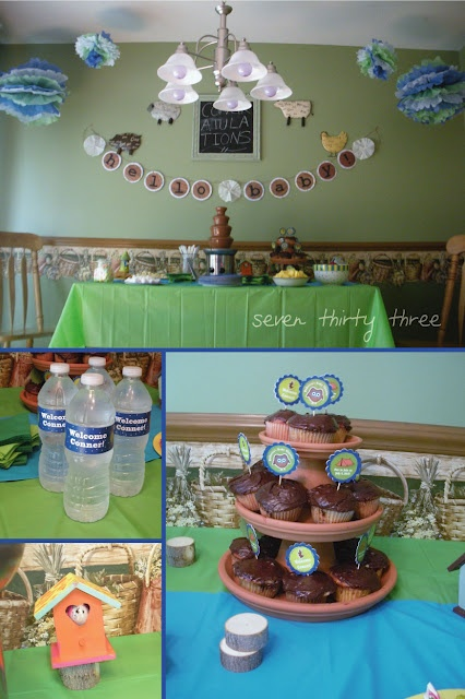camping themed baby shower like the terra cotta cupcake stand