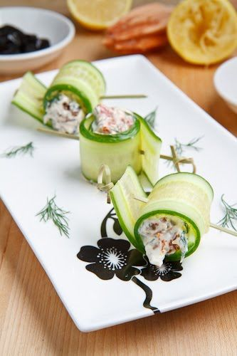 Cucumber and Feta Rolls! #Foodiechats http://www.closetcooking.com ...