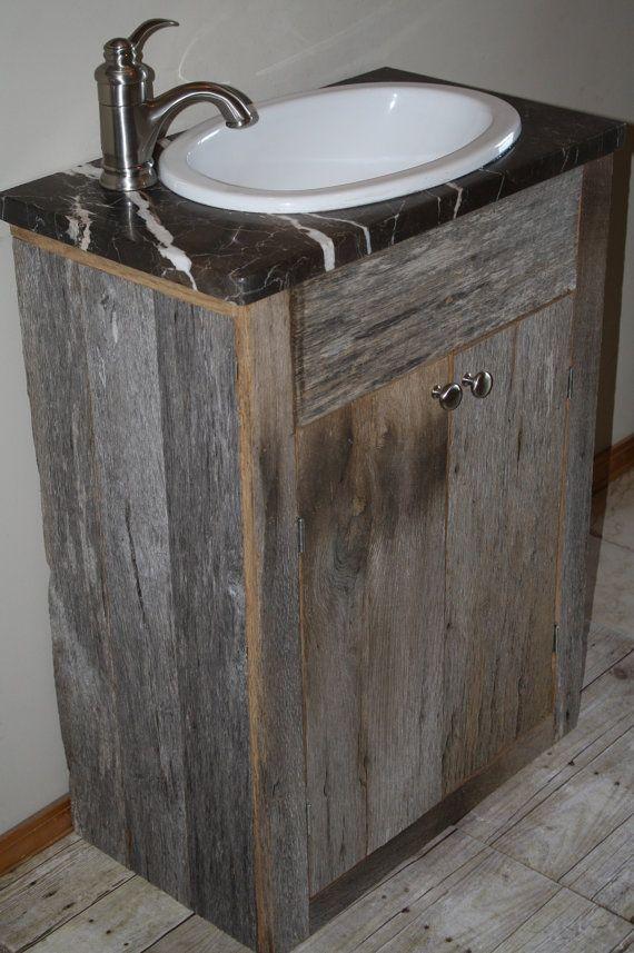 Your custom rustic small barn wood vanity or cabinet - Custom wood bathroom cabinets ...