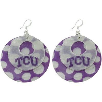 Texas Christian Horned Frogs (TCU) Polka Dot Capiz Double Shell Earrings