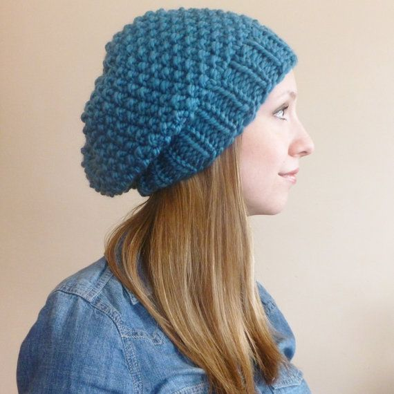 Slouchy Beanie Beret Teal, Chunky Slouchy Seed Stitch Hat, Slouch Hat?