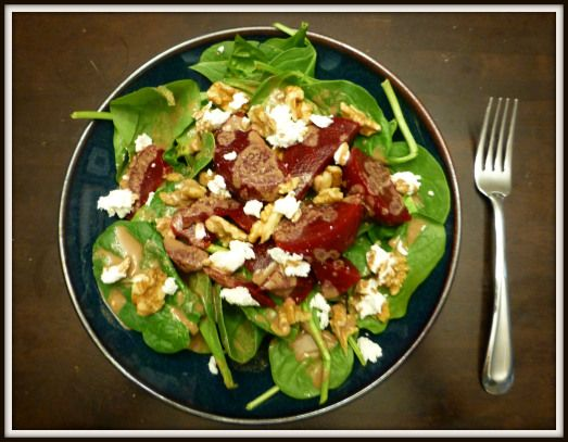 spinach salad with beets, goat cheese, walnuts, and tahini-balsamic ...