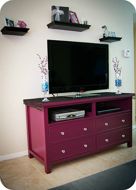 repurpose dresser as tv stand & shelves. Maybe not this color but I love the idea.
