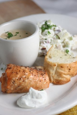 Smoked Salmon, Waldoff Salad,and Lobster Bisque appetizer on the March ...