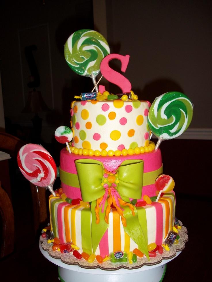 3 tier Candy Theme birthday cake Party Ideas Pinterest