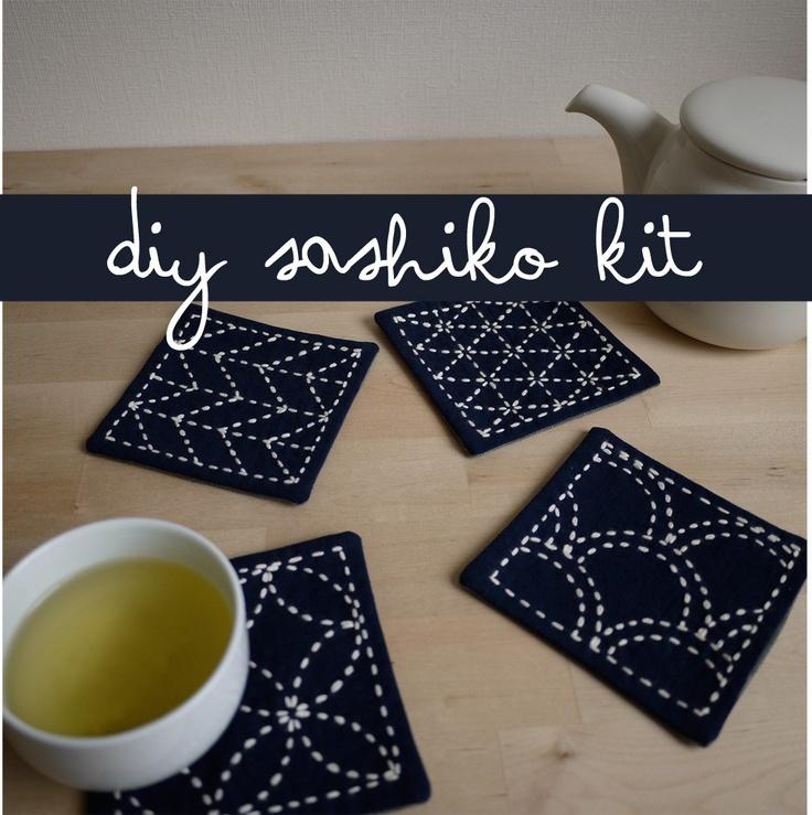 DIY Kit Sashiko Embroidery Genki Coasters Set Of 4 W
