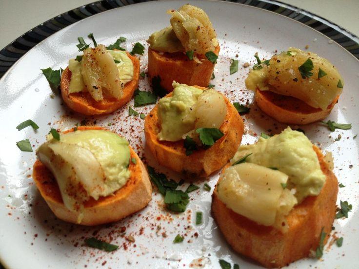 Roasted Garlic, Avocado, & Sweet Potato Bites