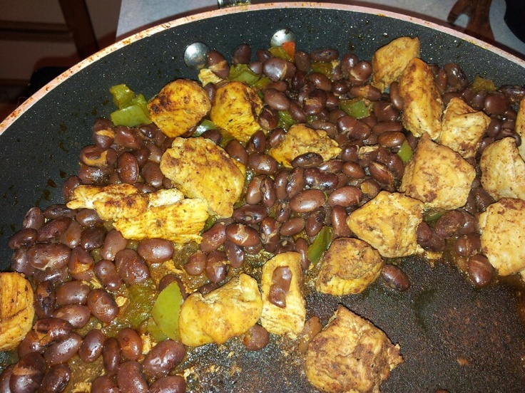cut up and cooked, add 2 T. taco seasoning, red beans, and bell pepper ...