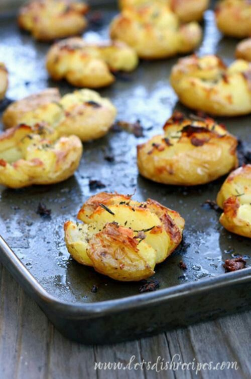 Crispy rosemary smashed baked potato | Food & Drinks | Pinterest