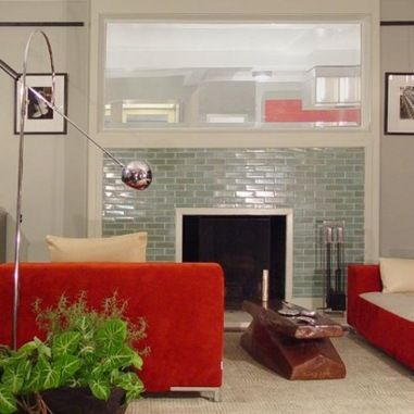 Glass Tile Fireplace Surround Design Fireplaces Pinterest