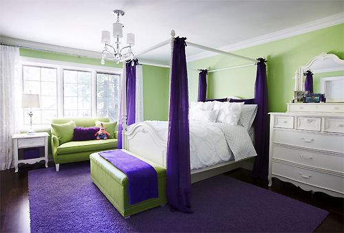green and purple bedroom homes and home decor pinterest. Black Bedroom Furniture Sets. Home Design Ideas