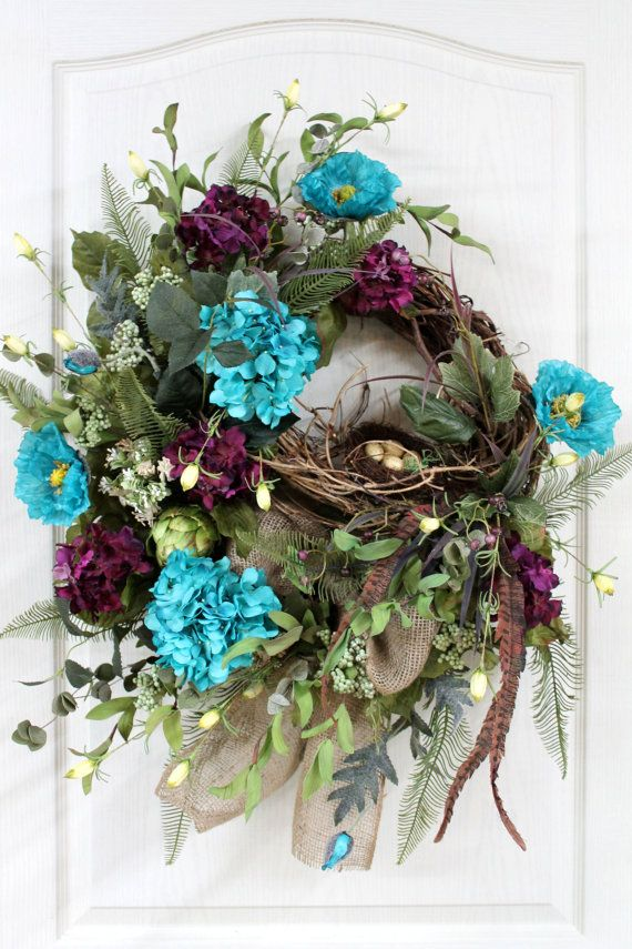 Country front door wreath spring summer wreath by floralsfromhome