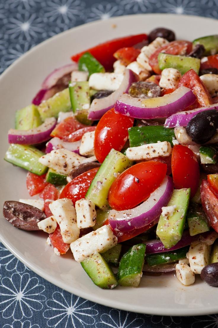 middle eastern salad-- cherry tomato, feta, zucchini, kalamata olive ...