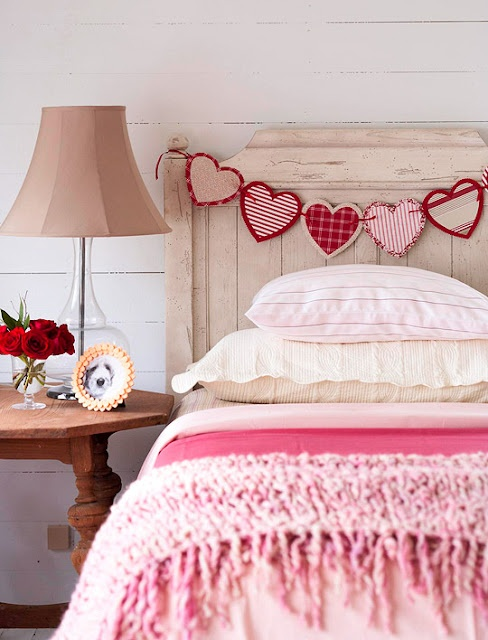 Lovely colour palette in this pic - A Valentines bedroom- bunting hearts & pink bedding    www.rugsdirect.co.uk