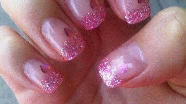 valentine day pink nails