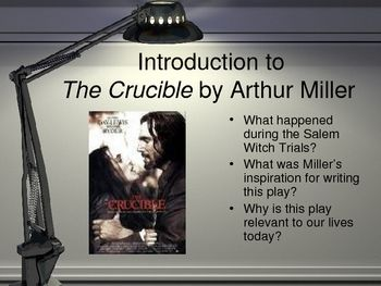 """essay for the crucible The literary work """"the crucible"""" by arthur miller is a very good choice for your essay """"the crucible"""" is one of the most mysterious, and at the same time very utilitarian creation of the outgoing centurythe play, which hitherto raises heated debates of people, who are trying to bring to light the subjects of much controversy, which are discussed in the play: the theme of the moral."""